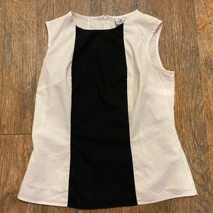 Worthington Black & White Top w/ Zipper Back M